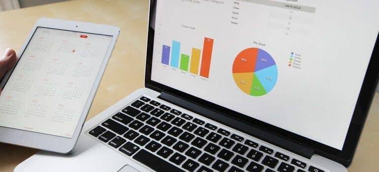 Marketing analysis on a laptop screen.