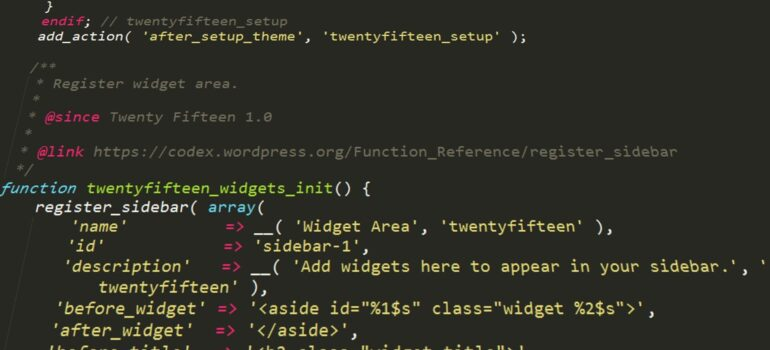 Lines of code related to website design, showing one way in which you can disable WordPress Admin Bar for all users except administrators.