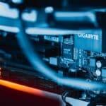 Close-up of an internet server.
