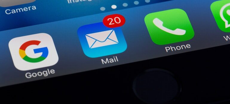 Email app with 20 notifications.