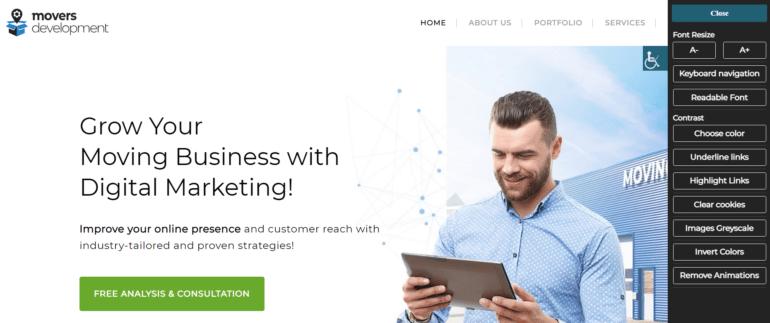 Screenshot of ADA plugin on our homepage.