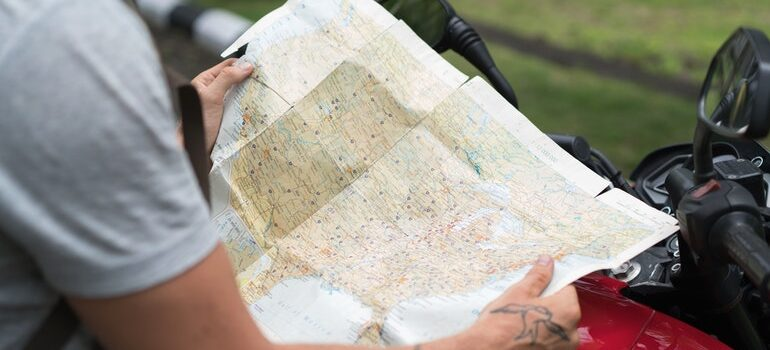 Person looking at a map.