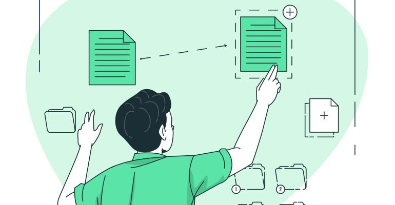 Illustration of a person creating a duplicate file.