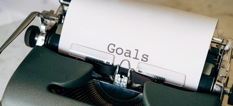 Goals written on a piece of paper.